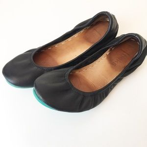 Tieks | Black Turquoise Leather Ballet Flats